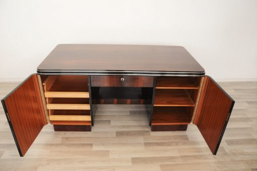 Art Deco, Palisander, Schreibtisch, Chromleisten, Buero, Wohnzimmer, Hochglanz, handpoliert, Oberflaeche, Design, Schubladen