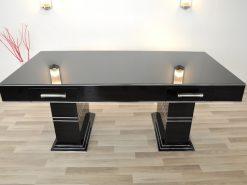 Bauhaus, Schreibtisch, Design, Hochglanz, Schwarz, Chromleisten, Schubladen, Chromgriffe, Handpoliert, restauriert, original, Buero, Moebel