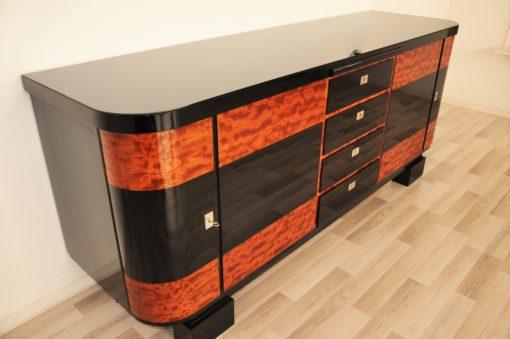 Art Deco, Moebel, Buffet, Sideboard, Klavierlack, Hochglanz, poliert, stauraum, zweifarbig, wurzelholz, restauriert, original