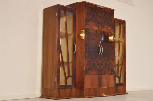 Art Deco, Barsschrank, Kommode, Sideboard, Bar, Walnuss, Moebel, Holz, Spiegel, Schrank, Design, Antik, Vintage, Restoration, Wohnzimmer