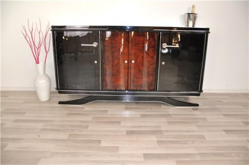 Art Deco, buffet, Sideboard, Moebel, schwebend, credenza, walnuss, tuer, restauriert, design, aufbewahrung, hochglanz, chromgriffe