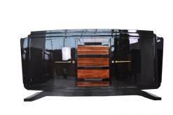 Art Deco, Sideboard, Buffet, Moebel, Antik, Hochglanzschwarz, Design, luxuriös, elegant, schwebender Fuß, holz, Apllikationen,