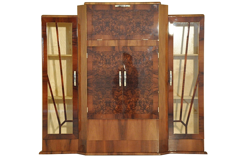 art deco barschrank aus walnussholz ebay. Black Bedroom Furniture Sets. Home Design Ideas