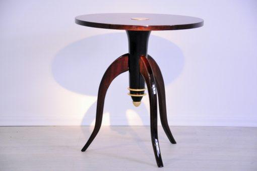 Art Deco, Beistelltisch, Dreibein, Moebel, Tisch, Design, Messing, Rund, Klein, Pärchen, Palisander, Wohnzimmer, Filigran,