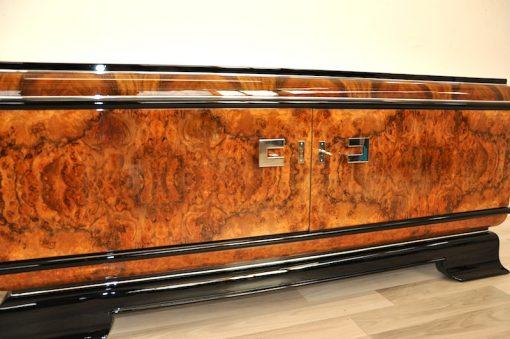 Art Deco, Lowboard, Sideboard, Kommode, Aufbewahrung, Walnus, Furnier, Wohnzimmer, Chromgriffe, Klavierlack, Antik, Restauriert