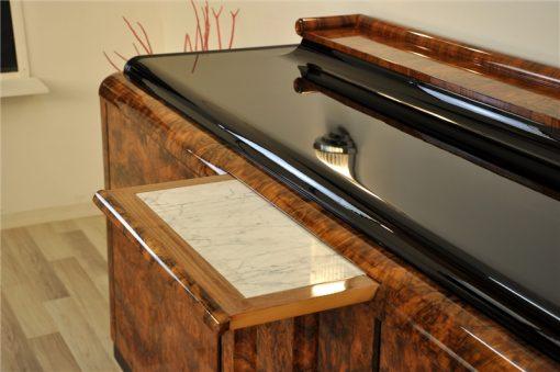 Art Deco, Sideboard, Buffet, Credenza, Aufbewahrung, Wurzelholz, Furnier, Maserung, Klavierlack, einzigartig, Antik, Design, Hochglanz