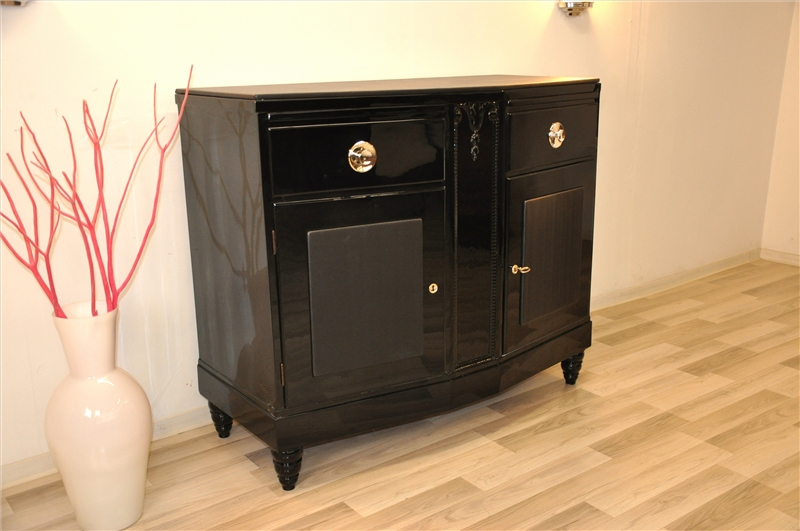schwarze art deco kommode mit lederapplikationen original antike m bel. Black Bedroom Furniture Sets. Home Design Ideas