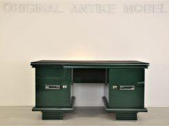 Art Deco, Schreibtisch, Tisch, Jaguar Racing Green, Original, Lack, Wohnzimmer, Büro, Design, Chromleisten, Alcantara, Leder