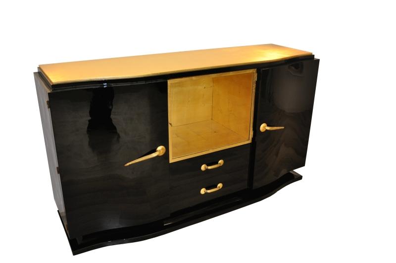 Schwarzes Art Deco Sideboard Mit Goldenen Details Original Antike