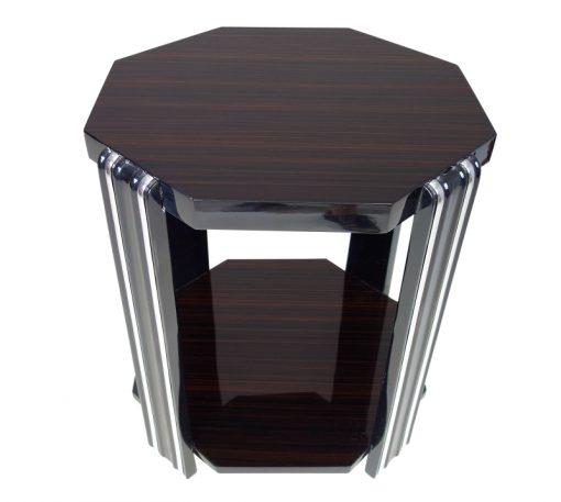 Art Deco, Design, Stil, Beistelltisch, Tische, Mobel, Wohnzimmer, Makassar, Funier, Maserung, hohe Qualitaet, Chromlinien