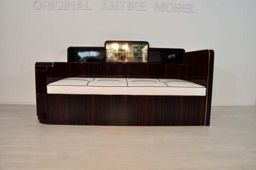 Art Deco, Daybed, Sofa, Makassar, Holz, Furnier, Lack, Klavierlack, Hochglanz, poliert, Handarbeit, Leder, Polster, Design, Kommode, Moebel, Couch