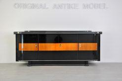 Art, Deco, Sideboard, Ahornapplikation, Moebel, Buffet, Tueren, Schubladen, Schubkaesten, schwarz, hochglanz, Aufbewahrung, luxurioes, hochwertig