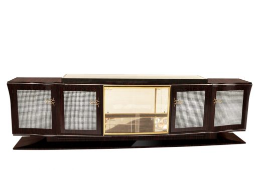 Art Deco, Moebel, Sideboard, Buffet, groß, extra, Diamanten, Makassar, Holz, Aufbewahrung, Schrank, 1920er, Frankreich, Messing
