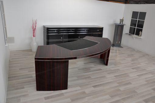 Bauhaus, Schreibtisch, halbrund, Makassar, Furnier, Original, Lederplatte, xxl, groß, Design, Wohnzimmer, Buero, handpoliert, Lack