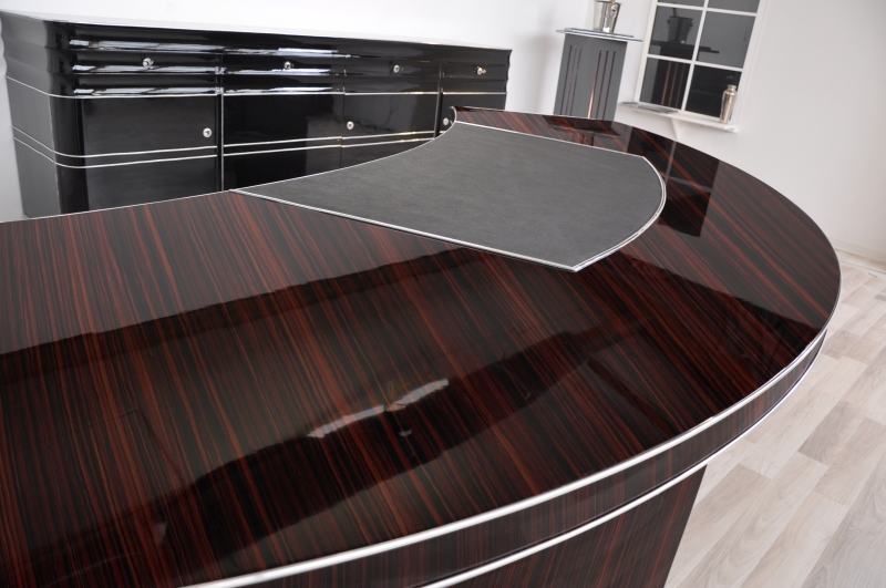 xxl art deco schreibtisch mit makassar furnier original antike m bel. Black Bedroom Furniture Sets. Home Design Ideas