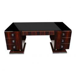 Art Deco, Schreibtisch, Design, Stil, Hochglanz, Handpoliert, elegant, Tischplatte aus Lacobel Glas, Chromgriffe, Buero, Moebel, Hotelmoebel