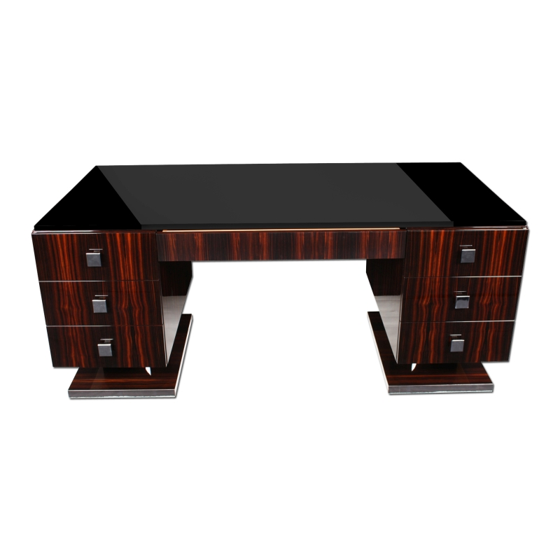 makassar art deco stil schreibtisch ebay. Black Bedroom Furniture Sets. Home Design Ideas