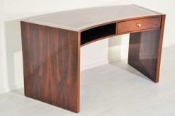 Vintage, Schreibtisch, Makassar, Holz, geschwungene Tischplatte, Art Deco, Design, moebel, Buero, Wohnzimmer, Schublade, poliertes Finish