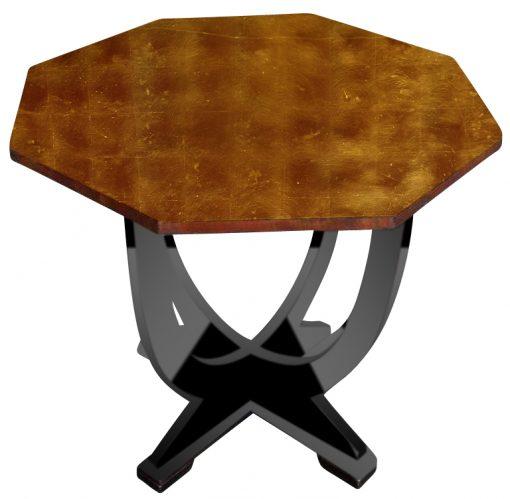 Art Deco, Beistelltisch, Tisch Möbel, Designmöbel, vintage, Klavierlack, Hochglanz, Goldapplikationen, Handarbeit, Holz, Hotellmöbel