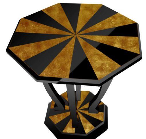 Art Deco, Beistelltisch, Couchtisch, Wohnzimmer, Designmoebel, Klavierlack, Gold, Hochglanz, Handarbeit, vintage, antik, Hotelmoebel