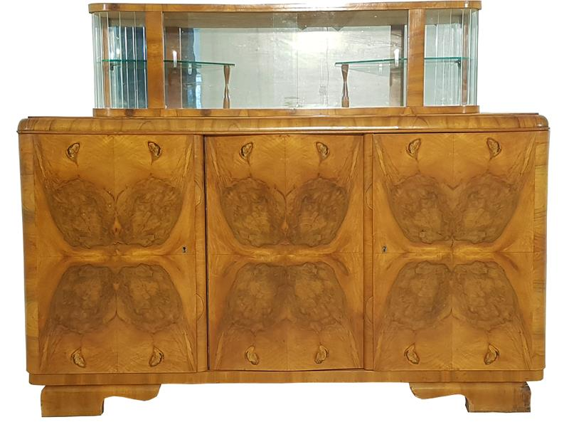 art deco sideboard mit vitrine original antike m bel. Black Bedroom Furniture Sets. Home Design Ideas