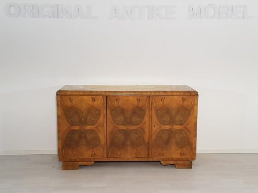 Art Deco, Sideboard, Kommode, Vitrine, Walnussholz, unrestauriert, individuelles Innenleben, Handarbeit, Wohnzimmer, Glas