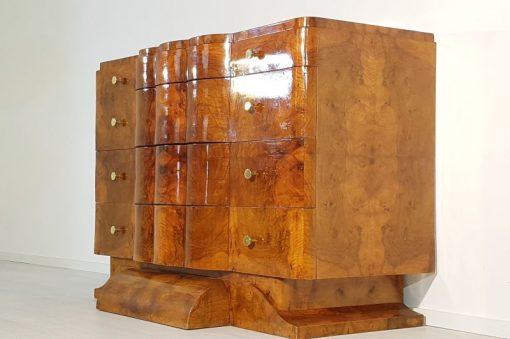 Art Deco, Sideboard, Kommode, original, Aufbewahrung, Nussbaum, Furnier, Maserung, einzigartig, Antik, Design, Hochglanz, Messing