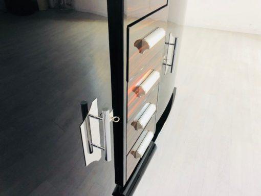Art Deco Sideboard, einzigartige Formensprache, tolles Design, Makassarholz, Fluegletueren, Innendesign, Wohnzimmer, Chromgriffe