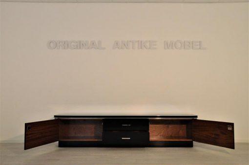 Art Deco, Lowboard, Sideboard, Kommode, schwarz, Klavierlack, Hochglanz, Chrome, handpoliert, Handarbeit, Qualität, antik
