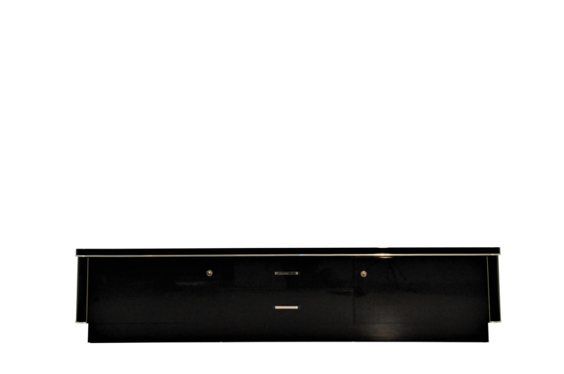 Art Deco, Lowboard, Sideboard, Kommode, Schwarz, Klavierlack, Hochglanz,  Chrome