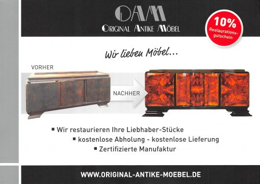 Restauration, Moebel, antike Moebel, vintage Moebel, Schraenke, Kommoden, Sideboards, Buffet, Restaurierung, Art Deco, Biedermeier
