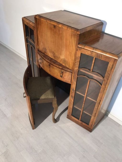 walnussholz, glas, sekretär, art deco, toller fuß, wohnzimmer, Stauraum, Luxus, Furnier, unrestauriert, braun, anpassbar,