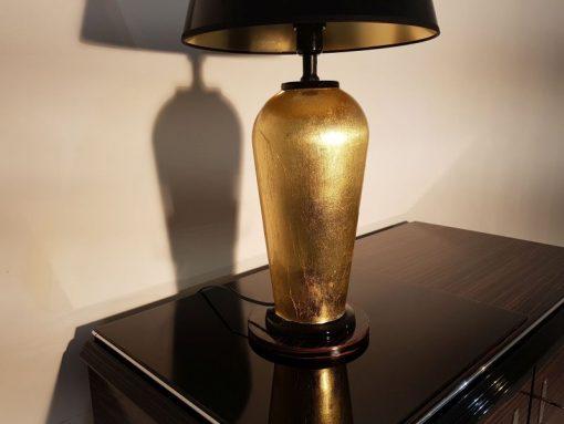 schwarz, gold, hochglanz, lampe, art deco, toller fuß, wohnzimmer, blattgold, lack, Luxus, Furnier, Kunstobjekt, Klavierlack