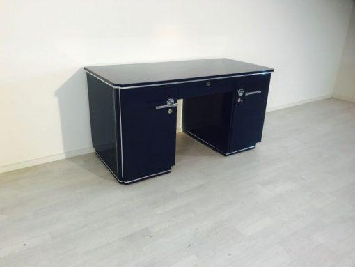 azurblau, hochglanz, sideboard, art deco, toller fuß, wohnzimmer, chromgriffe, lack, Luxus, Furnier, Chromlinien, klavierlack