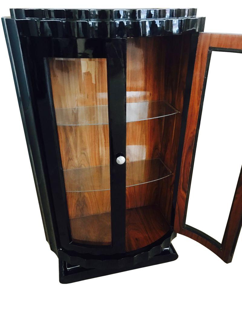 runde art deco design vitrine original antike m bel. Black Bedroom Furniture Sets. Home Design Ideas