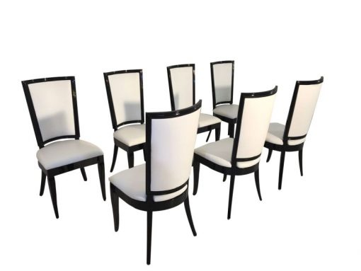 weiß, hochglanz, stühle, art deco, toller fuß, wohnzimmer, lederbezug, lack, Luxus, Furnier, elegant,elegantes Design, klavierlack