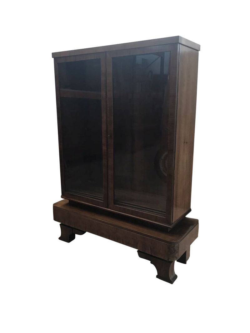 art deco wurzelholz vitrine original antike m bel. Black Bedroom Furniture Sets. Home Design Ideas
