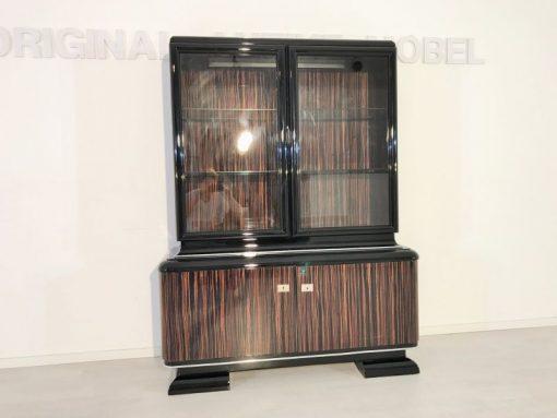 schwarz, hochglanz, vitrine, art deco, toller fuß, wohnzimmer, chromgriffe, lack, Luxus, Furnier, Chromlinien, klavierlack