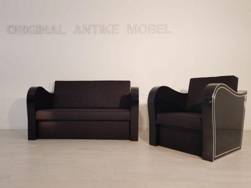 schwarz, hochglanz, sessel, art deco, sofa, chromliner, wohnzimmer, chromgriffe, lack, Luxus, Furnier, Chromlinien, klavierlack