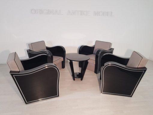 Art Deco, Sessel, Set, Design, Innendesign, Hochglanz, Stoffbezug, Schaumstoffkern, Geschwungene Armlehen, Sitzmeobel, Wohnzimmer