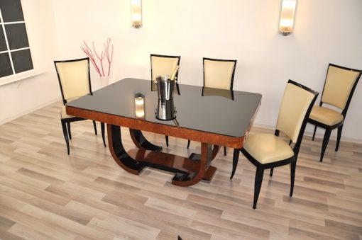 braun, hochglanz, tischt, stühle, stuhl, art deco, toller fuß, wohnzimmer, lack, Luxus, Furnier, amboina, klavierlack,esszimmerset