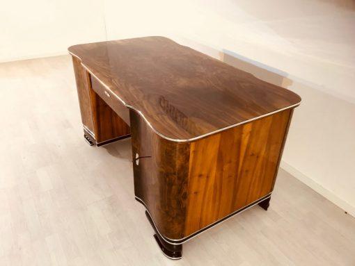 Art Deco, Moebel, Design, Schreibtisch, Wurzelholz, Walnuss, Furnier, braun, Wohnzimmer, Buero, Partnerschreibtisch, Frankreich,