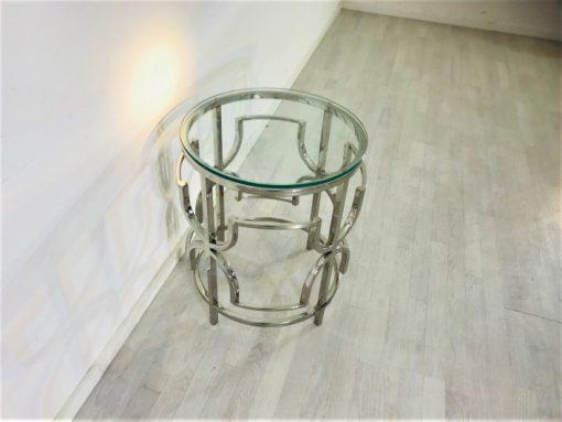 Bauhaus, Moebel, Design, Innendesign, Wohnzimmer, Chrom, Verchromt, Beistelltisch, Tisch, Glas, Glasplatte, Luxus,Vintage