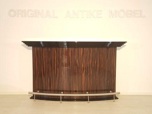 Art Deco, Moebel, Bar, Design, Innendesign, Halbmond, Makassar, Hochglanz, Finish, Stahl, Wohnzimmer, Luxus, hochwertig, Barmoebel