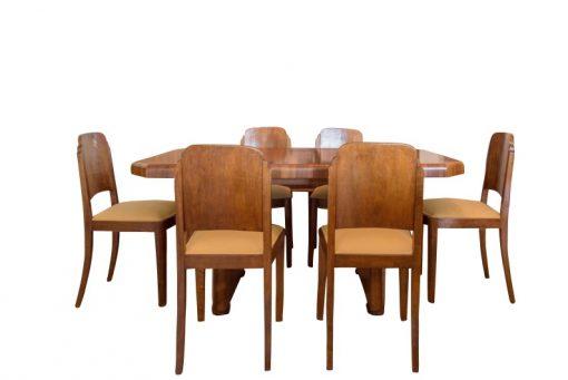 Art Deco, Esstisch, Stuehle, Antik, Vintage, Design, Innendesign, Walnussholz, Stoff, Restauration, Original, Wohnzimmer, Handarbeit