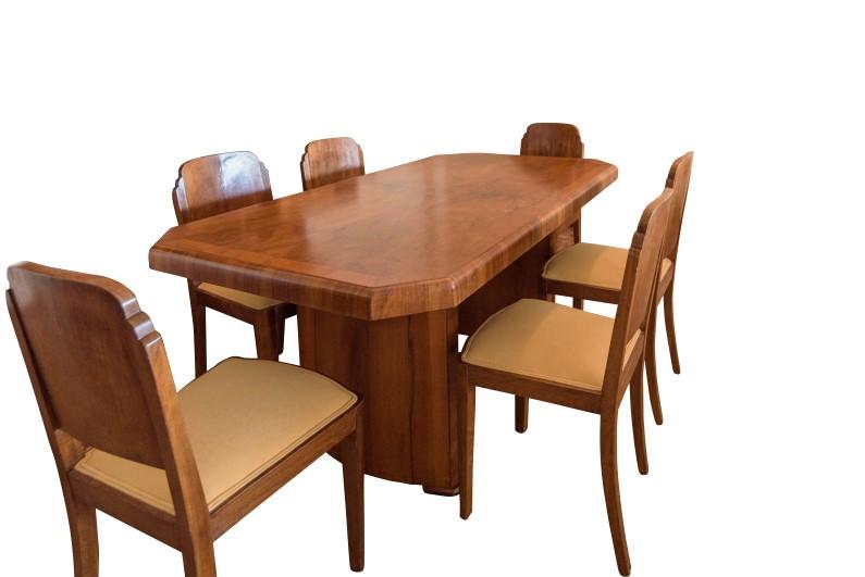 Art Deco Walnuss Esstisch mit Stühlen - Original Antike Möbel
