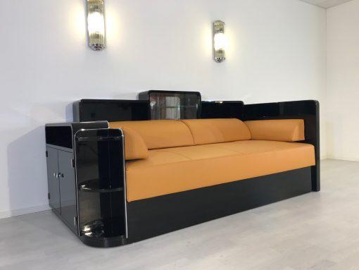 Art Deco, Daybed, Leder, Sofa, Klavierlack, Design, moebeldesign, Innendesign, luxus, elegant, Hochglanz, Wohnzimmer, Polstermoebel