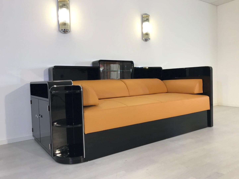 schwarzes art deco daybed original antike m bel. Black Bedroom Furniture Sets. Home Design Ideas