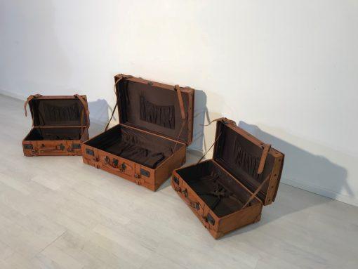 Koffer, Reisen, Travel, Design, Set, Luxus, Schweinsleder, 1930er, Vintage, innendesign, Leder, griffe, lederriemen, Transport