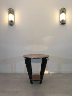 Art Deco, Moebel, Design, Beistelltisch, Tisch, Innendesign, Luxus, Wurzelholz, Walnussholz, Wohnzimmer, Klavierlack, Finish
